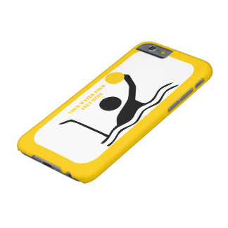 Water polo player black silhouette yellow custom barely there iPhone 6 case