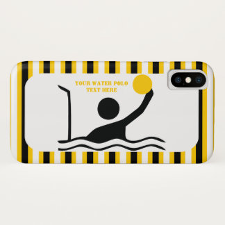 Water polo player black silhouette yellow stripes iPhone x case
