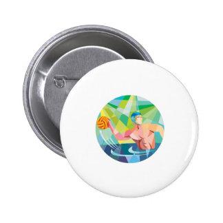Water Polo Player Throw Ball Circle Low Polygon Button