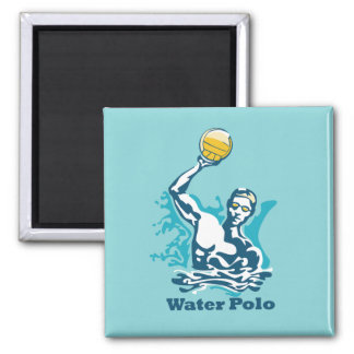 Water Polo Shot 2 Inch Square Magnet