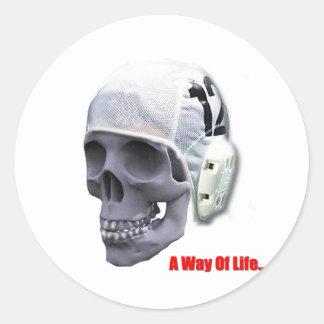 water-polo-skull classic round sticker