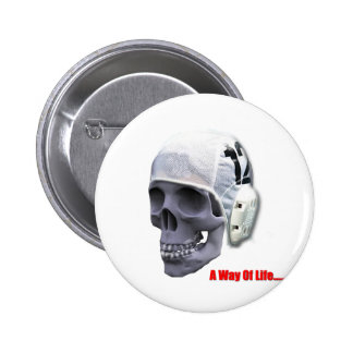 water-polo-skull pinback button