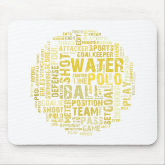 Water Polo Word Cloud Mouse Mat Mouse Pad