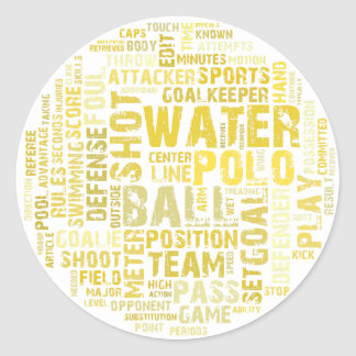 Water Polo Word Cloud Products Round Sticker