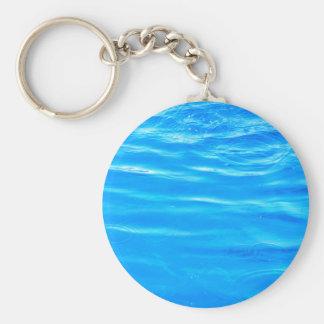 Water pretty deep blue rippling beautiful photo basic round button keychain