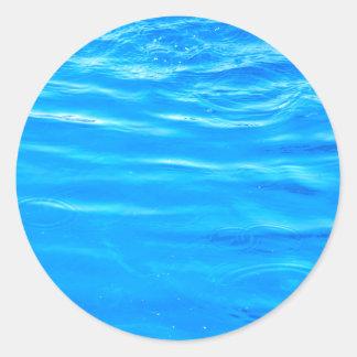 Water pretty deep blue rippling beautiful photo classic round sticker