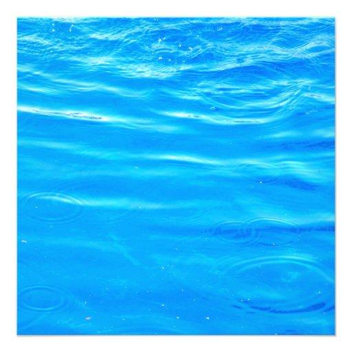 Water pretty deep blue rippling beautiful photo custom invitations
