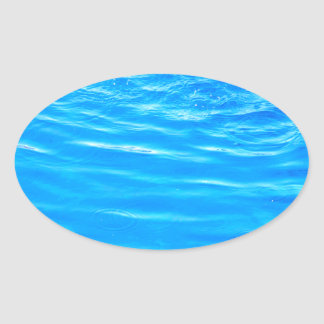 Water pretty deep blue rippling beautiful photo oval sticker