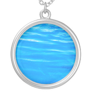Water pretty deep blue rippling beautiful photo round pendant necklace