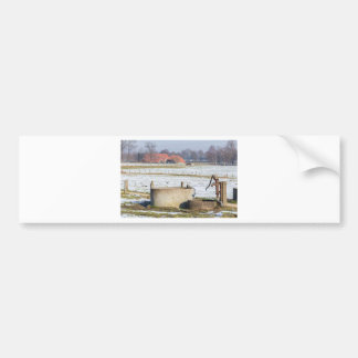 Water pump and well in winter snow landscape bumper sticker
