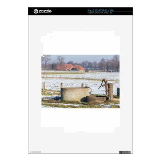 Water pump and well in winter snow landscape decal for iPad 2