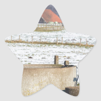 Water pump and well in winter snow landscape star sticker