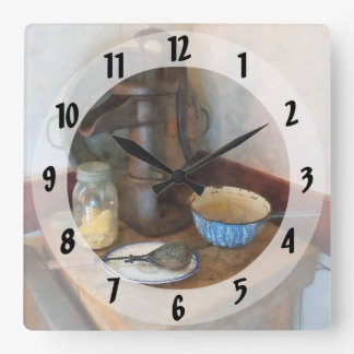 Water Pump in Kitchen Square Wall Clock