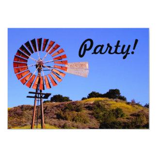 """Water Pumping Windmill 5"""" X 7"""" Invitation Card"""