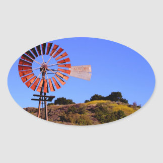 Water Pumping Windmill Oval Sticker