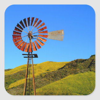 Water Pumping Windmill Square Sticker