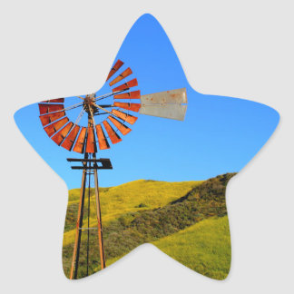 Water Pumping Windmill Star Sticker