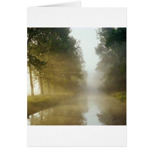 Water Ratzeburg Canal Mist Germany Card