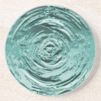 Water Ripple Teal Beverage Coasters