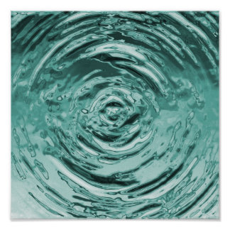 Water Ripple Teal Poster