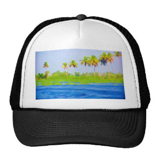 Water rippling in a backwater lagoon in Alleppey Mesh Hats
