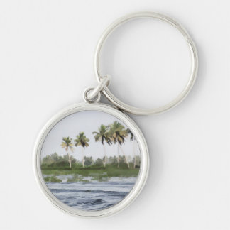 Water rippling in the coastal lagoon Silver-Colored round keychain