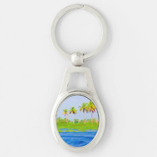 Water rippling in the coastal lagoon Silver-Colored oval metal keychain