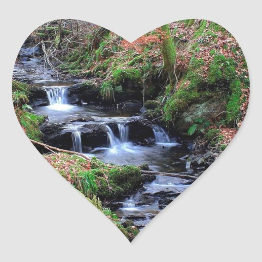 Water River Valley Gorge Heart Stickers