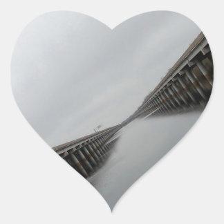 Water Roadway Canal Heart Sticker