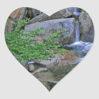 Water Rocky Wilderness Flows Heart Sticker