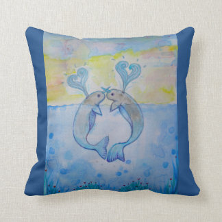 *water*romance*whale*art*home*love*gift throw pillow
