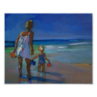 "'Water Run' - 8""x10"" POSTER of Mom and Child"