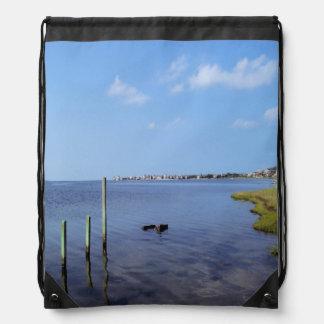Water Scene - Wooden Post Markers Cinch Bag
