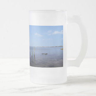 Water Scene - Wooden Post Markers Frosted Glass Beer Mug