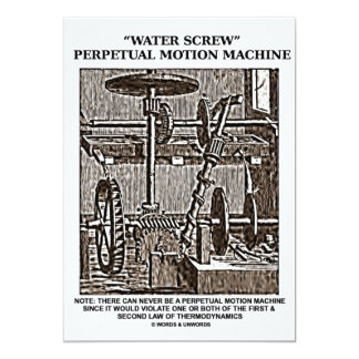 Water Screw Perpetual Motion Machine Woodcut Card