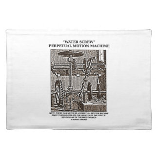 Water Screw Perpetual Motion Machine Woodcut Cloth Placemat