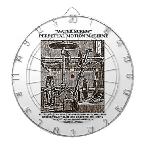 Water Screw Perpetual Motion Machine Woodcut Dartboard | Zazzle