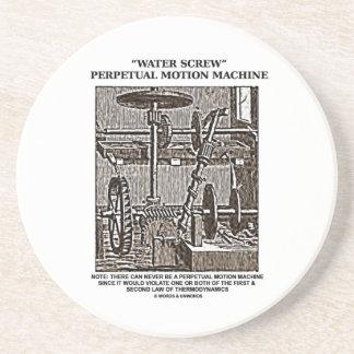 Water Screw Perpetual Motion Machine Woodcut Drink Coaster