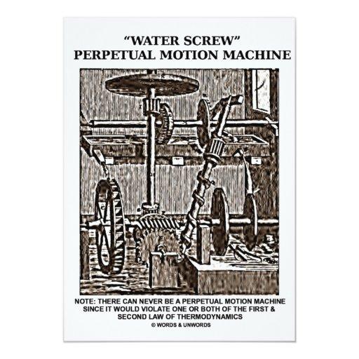 Water Screw Perpetual Motion Machine Woodcut 5x7 Paper Invitation Card