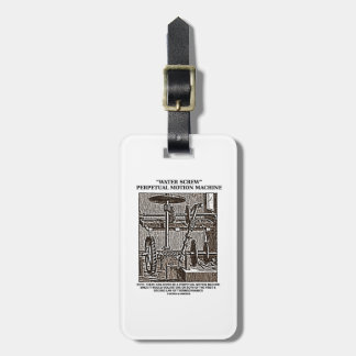 Water Screw Perpetual Motion Machine Woodcut Luggage Tag