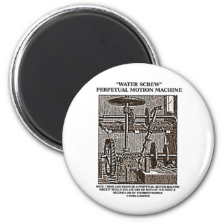 Water Screw Perpetual Motion Machine Woodcut Fridge Magnets
