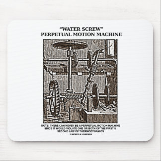 Water Screw Perpetual Motion Machine Woodcut Mouse Pad