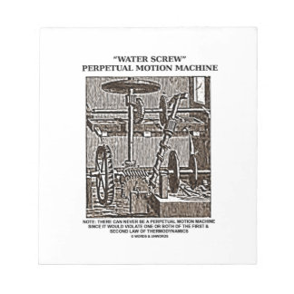 Water Screw Perpetual Motion Machine Woodcut Notepad