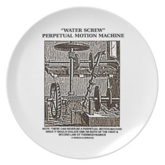 Water Screw Perpetual Motion Machine Woodcut Party Plate