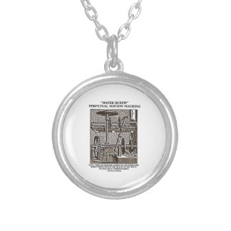 Water Screw Perpetual Motion Machine Woodcut Round Pendant Necklace