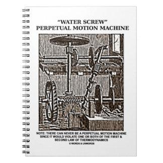 Water Screw Perpetual Motion Machine Woodcut Spiral Notebook