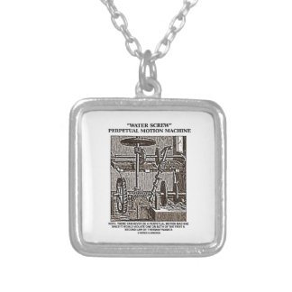 Water Screw Perpetual Motion Machine Woodcut Square Pendant Necklace