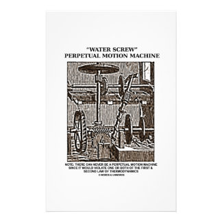 Water Screw Perpetual Motion Machine Woodcut Stationery