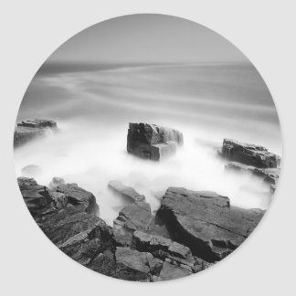 Water Sea Mist Craggs Classic Round Sticker