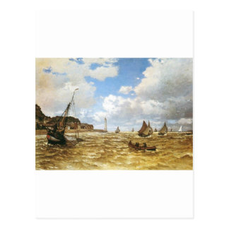 Water Ships Boats Monet Mouth of the Seine 1865 Postcard